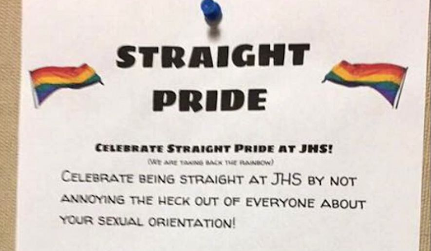 "An Indiana high school student is speaking out after the ""Straight Pride"" fliers the 16-year-old posted on campus were poorly received. (Dubois County Herald)"