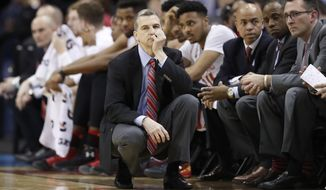Maryland head coach Mark Turgeon reacts during the second half of an NCAA college basketball game against Wisconsin in the Big Ten tournament, Friday, March 10, 2017, in Washington. Northwestern won 72-64. (AP Photo/Alex Brandon)