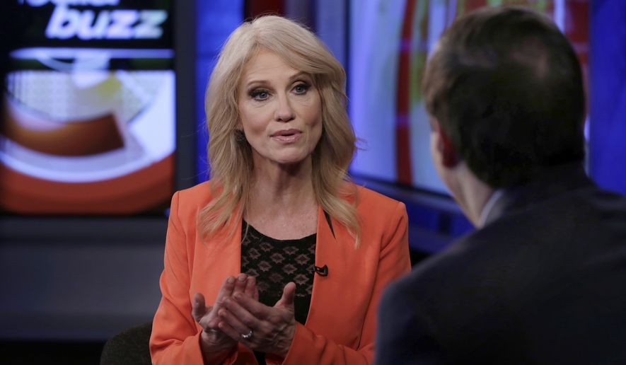 """Counselor to the President Kellyanne Conway is interviewed by Howard Kurtz during a taping of his """"MediaBuzz"""" program on the Fox News Channel, in New York Friday, March 10, 2017. (AP Photo/Richard Drew) ** FILE **"""