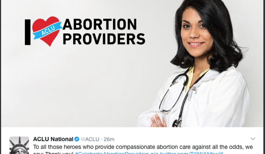 A March 10, 2017, tweet by the ACLU celebrating abortion provider. (Screen capture/Twitter)