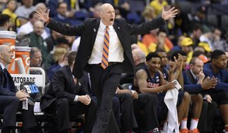 Illinois head coach John Groce reacts during the second half of an NCAA college basketball game against Michigan in the Big Ten tournament, Thursday, March 9, 2017, in Washington. Michigan won 75-55. (AP Photo/Nick Wass)
