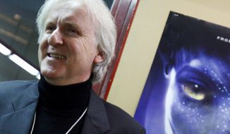 """FILE - In this Jan. 28, 2010, file photo, film director James Cameron poses for photos prior to the opening of the movie """"Avatar"""" in Davos, Switzerland. Cameron says the long-awaited sequel to his science-fiction epic will not be released in 2018. (AP Photo/Virginia Mayo, File)"""