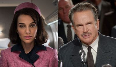"""Natalie Portman as Jackie Kennedy in """"Jackie"""" and Warren Beatty as Howard Hughes in """"Rules Don't Apply,"""" now available on Blu-ray."""