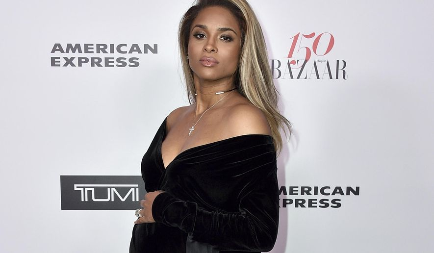 FILE- In this Jan. 27, 2017, file photo, Ciara arrives at Harper's BAZAAR's 150 Most Fashionable Women at the Sunset Tower Hotel in Los Angeles. A representative for Ciara says the pregnant entertainer is doing well after a minor car accident Friday, March 10, in Los Angeles. (Photo by Jordan Strauss/Invision/AP, File)