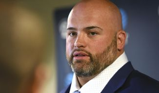 Los Angeles Rams newly signed free agent left tackle Andrew Whitworth answers questions during a news conference at the Rams NFL training facility in Thousand Oaks, Calif., Friday, March 10, 2017. (AP Photo/Michael Owen Baker)