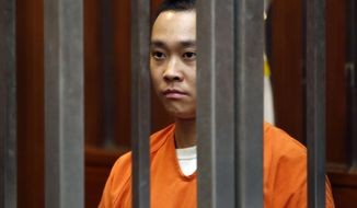 FILE - This Feb. 5, 2016 file photo shows James Tran, who faces charges for the alleged stabbing of Paris train hero Spencer Stone, is seen during his appearance in Sacramento Superior Court. Tran, is pleading guilty to stabbing a U.S. airman who weeks earlier was hailed as a hero for helping thwart a terror attack aboard a French train. A spokeswoman for the Sacramento County district attorney's office, says, Tran pleaded guilty to attempted murder Friday, March 10, 2017 less than a week before he was to go on trial. (AP Photo/Rich Pedroncelli, File)