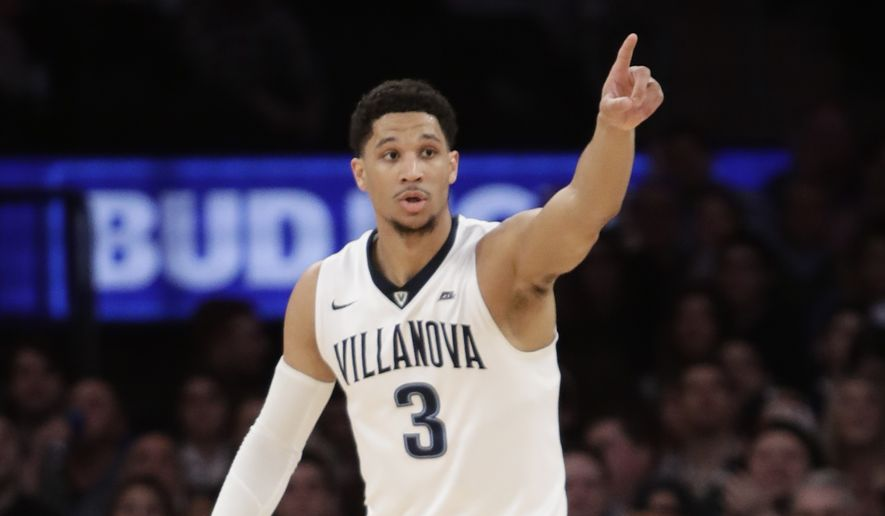 Villanova's Josh Hart (3) gestures to teammates during the first half of a championship NCAA college basketball game against Creighton in the finals of the Big East men's tournament Saturday, March 11, 2017, in New York. (AP Photo/Frank Franklin II)