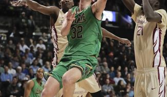 Notre Dame guard Steve Vasturia (32) goes up for a shot against Florida State in the first half of an NCAA college basketball game during the semifinals of the Atlantic Coast Conference tournament, Friday, March 10, 2017, in New York. (AP Photo/Julie Jacobson)