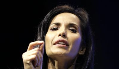 """Padma Lakshmi speaks during a meeting called """"The Resistance Training"""" hosted by the American Civil Liberties Union, Saturday, March 11, 2017, in Coral Gables, Fla. (Luis M. Alvarez) ** FILE **"""