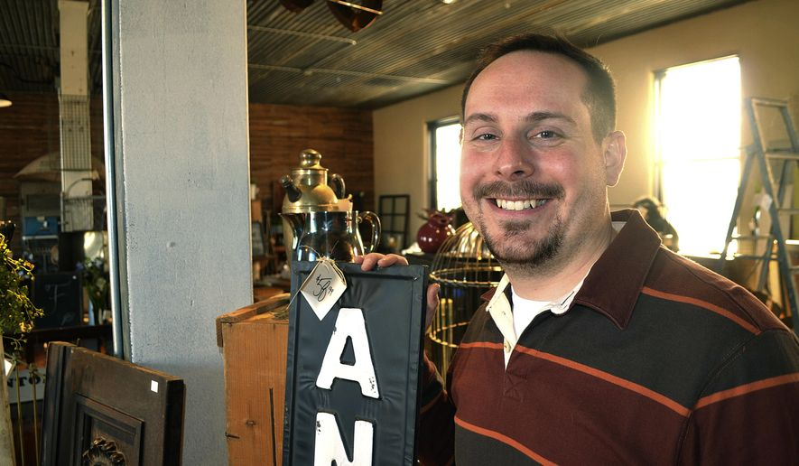 ADVANCE FOR THE WEEKEND OF MARCH 11-12 AND THEREAFTER = Mark Kanitz is shown on March. 1, 2017, on the second floor of 1912 Emporium, the old Wayne City Hall site in Wayne, Neb., that he and partner Lukas Rix purchased and renovated before opening for business on Feb. 1. (Tim Gallagher/Sioux City Journal via AP)