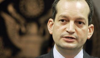 FILE - In this Sept. 17, 2008 file photo, Labor Secretary-designate Alexander Acosta speaks in Miami. Acosta is expected to face questions at his Senate confirmation hearing about an unusual plea deal he oversaw for a billionaire sex offender while U.S. attorney in Miami.  (AP photo/Alan Diaz, File)