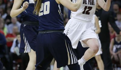 De Pere's Lizzie Miller (12) gets past Appleton North's Sydney Levy (20) in the Division 2 finals in the WIAA girls' state basketball championships Saturday, March 11, 2017 in Green Bay, Wis. (AP Photo/Mike Roemer)