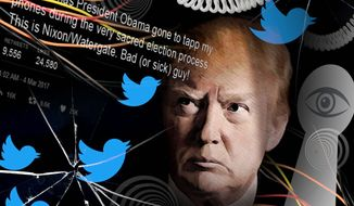 Illustration on Trump's tweets regarding possible Obama administration wiretaps by M. Ryder/Tribune Content Agency