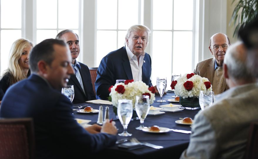 President Donald Trump, center, meets White House Chief of Staff Reince Priebus, from left clockwise, Shulkin's wife , Merle Bari, Secretary of Veterans Affairs David Shulkin, Trump, Secretary of Commerce Wilbur Ross, Secretary of Homeland Security John Kelly together with other members of his cabinet and the White House staff, Saturday, March 11, 2017, at the Trump National Golf Club in Sterling, Va. (AP Photo/Manuel Balce Ceneta)