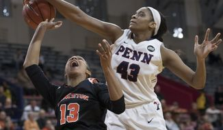 Princeton's Vanessa Smith, left, looks up as Pennsylvania's Michelle Nwokedi, right, blocks her shot-attempt during the first half of an NCAA college basketball championship game in the Ivy League Tournament, Sunday, March 12, 2017, in Philadelphia. (AP Photo/Chris Szagola)
