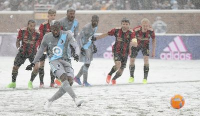Minnesota United midfielder Kevin Molino scores a goal during the first half of an MLS soccer game against Minnesota United, Sunday, March 12, 2017, in Minneapolis, Minn. (Jeff Wheeler/Star Tribune via AP)