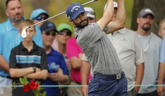 Adam Hadwin tees off on the second hole during the final round of the Valspar Championship golf tournament Sunday, March 12, 2017, at Innisbrook in Palm Harbor, Fla. (AP Photo/Mike Carlson)