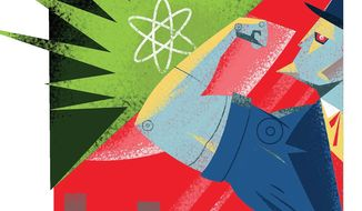 Illustration on the U.S. dealing with rogue nuclear powers by Linas Garsys/The Washington Times