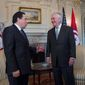 """Then-Secretary of State Rex Tillerson meets with Tunisian Foreign Minister Khemaies Jhinaoui at the State Department in Washington, Monday, March 13, 2017. The foreign minister was in Washington again in July 2019 to participate in the expanding """"U.S.-Tunisia Strategic Dialogue"""" and hold talks with Secretary of State Mike Pompeo. (AP Photo/Molly Riley) ** FILE **"""