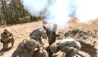 The U.S. Army is experimenting with ways to resupply troops via mortar delivery systems. (U.S. Army) ** FILE **