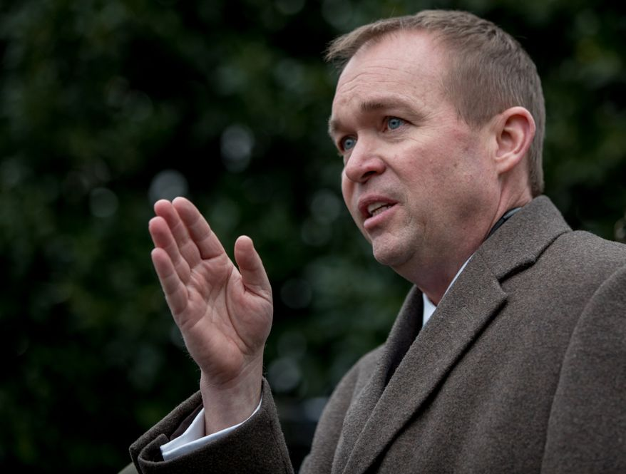 Budget Director Mick Mulvaney speaks outside the West Wing of the White House in Washington, Monday, March 13, 2017, after Congress' nonpartisan budget analysts reported that 14 million people would lose coverage next year under the House bill dismantling former President Barack Obama's health care law. (AP Photo/Andrew Harnik)