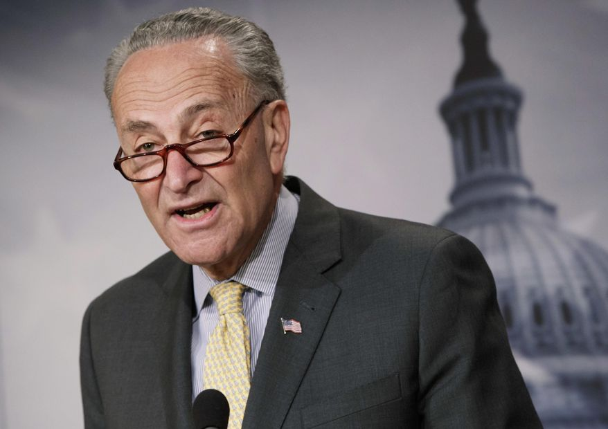 "Senate Minority Leader Charles E. Schumer, New York Democrat, has warned that any ""poison pill"" policy riders would galvanize his members to defeat a funding package. (Associated Press/File)"
