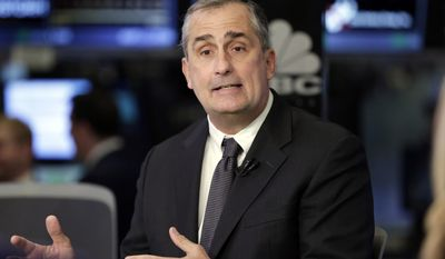 Intel CEO Brian Krzanich is interviewed on the floor of the New York Stock Exchange, Monday, March 13, 2017. Intel will buy Israel's Mobileye in a deal valued at about $15 billion, instantly propelling the computer chip and technology giant to the forefront of autonomous vehicle technology. (AP Photo/Richard Drew)