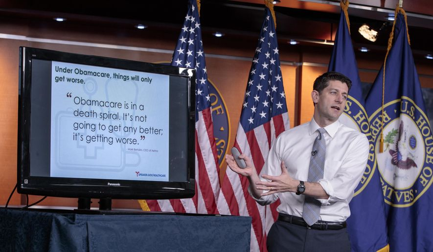 In this March 9, 2017, file photo, House Speaker Paul D. Ryan of Wis. uses charts and graphs to make his case for the GOP's long-awaited plan to repeal and replace the Affordable Care Act during a news conference on Capitol Hill in Washington. (AP Photo/J. Scott Applewhite, File)