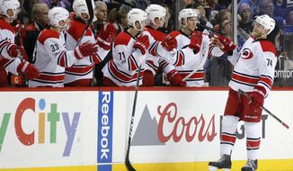Teammates congratulate Carolina Hurricanes defenseman Jaccob Slavin (74) after he scored during the second period of an NHL hockey game against the New York Islanders, Monday, March 13, 2017, in New York, (AP Photo/Kathy Willens)