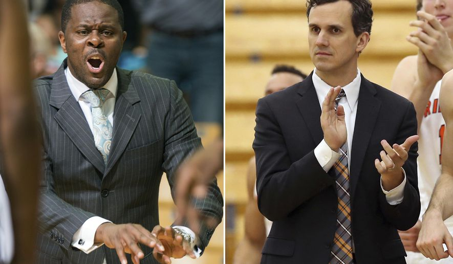 FILE - At left, in a Nov. 28, 2016, file photo, North Carolina Central head coach LeVelle Moton gestures during the first half of an NCAA college basketball game against Missouri, in Columbia, Mo. At right, in a Nov. 25, 2016, file photo, Princeton coach Mitch Henderson applauds during the second half of an NCAA college basketball game against Rowan in Princeton, N.J. This is the time of year when a coach from outside the major conferences can make a name for himself and perhaps parlay an NCAA Tournament upset into a bigger job. (AP Photo/File)