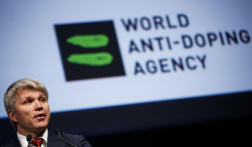 Pavel Kolobkov, Russian Sport Minister, delivers his speech during the opening day of the 2017 world anti-doping agency, WADA, annual symposium, at the Swiss Tech Convention Center, in Lausanne, Switzerland, on Monday March 13, 2017.  (Valentin Flauraud/Keystone via AP)