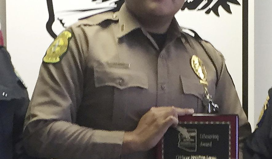 This undated photo provided by the Navajo Nation Office of the President and Vice President, shows Navajo Nation police officer James Largo. Largo died Sunday, March 12, 2017, after responding to a domestic violence call near the small town of Prewitt, N.M. (Navajo Nation Office of the President and Vice President via AP)