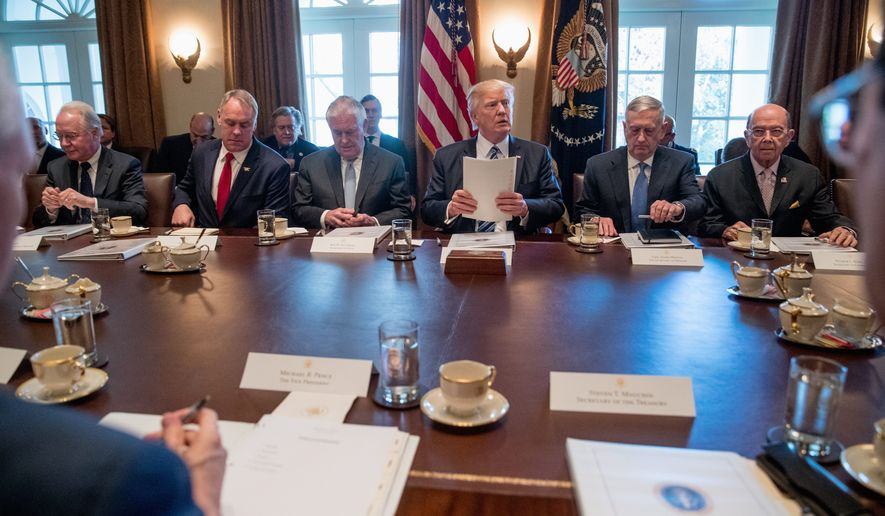 President Trump and Cabinet members are key to the second phase of the American Health Care Act, but Republicans haven't outlined how the administration will release regulations to carry out the policies. (Associated Press)