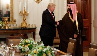 President Trump greeted Saudi Arabian Deputy Crown Prince Mohammed bin Salman, who was hopeful for a reversal of the Obama administration's Iran policies. (Associated Press)