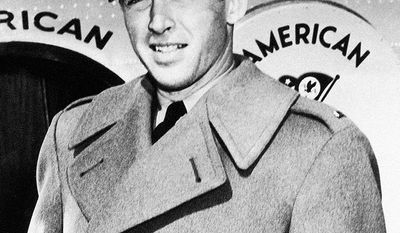 Jimmy Stewart (May 20, 1908; July 2, 1997) actor and military officer who is among the most honored and popular stars in film history. A major Metro-Goldwyn-Mayer contract player, Stewart was known for his distinctive drawl and down-to-earth persona, which helped him often portray American middle-class men struggling in crisis. Many of the films he starred in have become enduring classics. He also had a noted military career and was a World War II and Vietnam War veteran, who rose to the rank of Brigadier General in the United States Air Force Reserve, becoming the highest-ranking actor in military history. Stewart was nominated for five Academy Awards, winning one in competition for The Philadelphia Story (1940), and received an Academy Lifetime Achievement award in 1985. In 1999, Stewart was named the third greatest male screen legend of the Golden Age of Hollywood by the American Film Institute, behind Humphrey Bogart and Cary Grant. The American Film Institute has also named five of Stewart's films to its list of the 100 best American films ever made. (AP Photo)