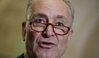 Senate Minority Leader Chuck Schumer, D-N.Y., speaks with reporters at the Capitol in Washington, Tuesday, March, 14, 2017. The White House and Republican leaders in Congress are scrambling to shore up support for their health care bill after findings from the Congressional Budget Office estimated that 14 million people would lose insurance coverage in the first year alone under the GOP replacement for Obamacare. (AP Photo/J. Scott Applewhite)