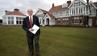 Club captain Henry Fairweather announces that women will be admitted as members of Muirfield Golf Club after a membership ballot was held by The Honourable Company of Edinburgh Golfers, in Gullane, Scotland Tuesday, March 14, 2017. Muirfield Golf Club voted Tuesday to admit female members for the first time in its 273-year history, paving the way for the Scottish golf club to again host the British Open.  ( Jane Barlow/PA via AP)
