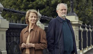 "This image released by CBS Films and Lionsgate shows Charlotte Rampling, left, and Jim Broadbent from, ""The Sense of an Ending,"" a film based on the novel by Julian Barnes. (Robert Viglasky/CBS Films and Lionsgate via AP)"