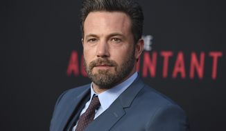 "FILE- In this Oct. 10, 2016, file photo, Ben Affleck arrives at the world premiere of ""The Accountant"" at the TCL Chinese Theatre in Los Angeles. Affleck says he has recently completed treatment for alcohol addiction. The actor and director on Tuesday, March 14, 2017, posted on his personal Facebook page that this is the first of many steps being taken towards a positive recovery. (Photo by Jordan Strauss/Invision/AP, File)"