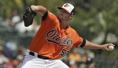 Baltimore Orioles' Zach Britton pitches to the Tampa Bay Rays during the fourth inning of a spring training baseball game Tuesday, March 14, 2017, in Sarasota, Fla. (AP Photo/Chris O'Meara)