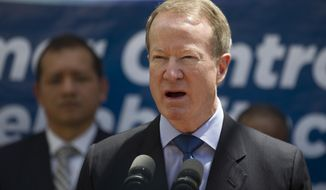 FILE - In this March 6, 2017 file photo William Brownfield, assistant secretary for International Narcotics and Law Enforcement Affairs, speaks during a joint press conference with Guatemala's President Jimmy Morales at the inauguration of a women's jail in Fraijanes, Guatemala. The United Nations is about to clamp down on fentanyl, a prescription painkiller up to 50 times stronger than heroin by adding it to its list of controlled opioids.  (AP Photo/Moises Castillo,file )