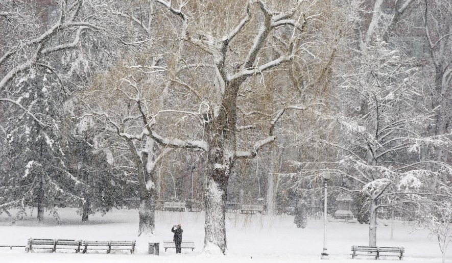 A person makes a photograph of a snowy scene during a winter storm Tuesday, March 14, 2017, in Boston. (AP Photo/Michael Dwyer)