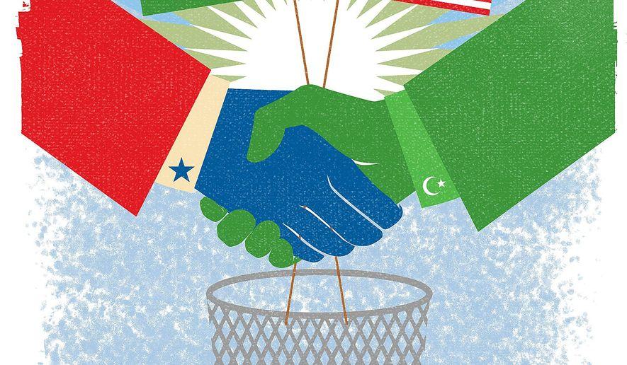 Illustration on an American/Saudi Arabian alliance against Iranian hegemony by Linas Garsys/The Washington Times