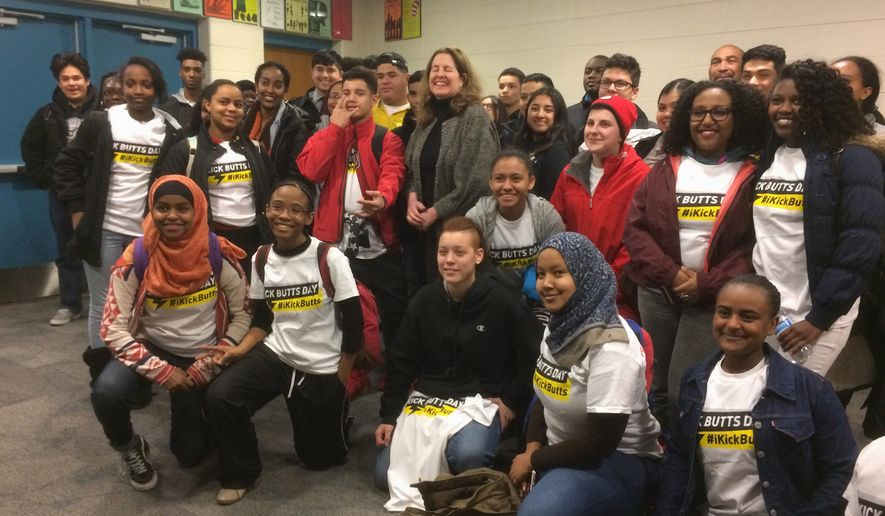 """Alexandria, Virginia, Mayor Allison Silberberg with students at T.C. Williams High School after kicking off """"Kick Butts Day"""" — a day of anti-tobacco campaigning sponsored by the Substance Abuse Prevention Coalition of Alexandria. (Julia Brouillette/THE WASHINGTON TIMES)"""
