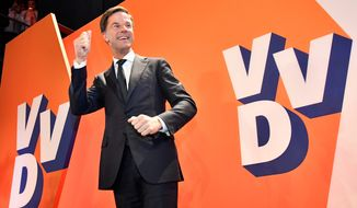Prime Minister Mark Rutte's party successfully beat back a challenge from populist candidate Geert Wilders in Dutch parliamentary elections. (Associated Press)