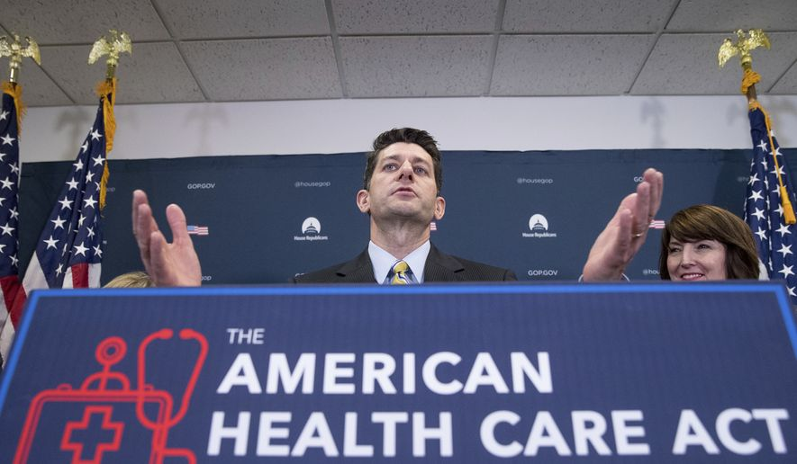 House Speaker Paul Ryan of Wis., accompanied by Rep. Cathy McMorris Rodgers, R-Wash., right, speaks at a news conference following a GOP party conference at the Capitol, Wednesday, March 15, 2017, in Washington. (AP Photo/Andrew Harnik)