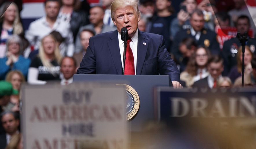 President Donald Trump speaks during a rally Wednesday, March 15, 2017, in Nashville, Tenn. (AP Photo/Evan Vucci)