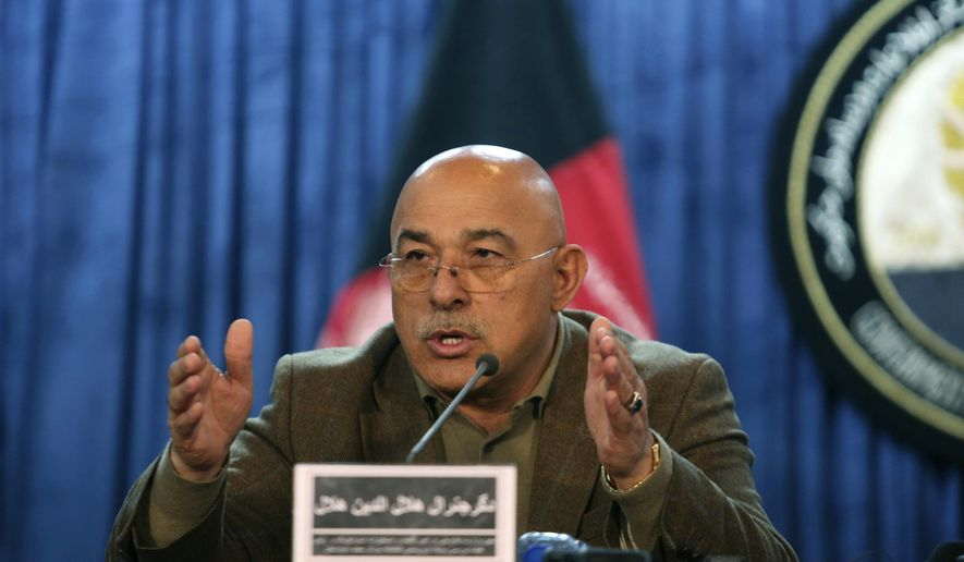 Gen. Helaludin Helal, deputy defense minister speaks during a news conference in Kabul, Afghanistan, Wednesday, March 15, 2017. Helal said the official death toll from last week's militant assault on a Kabul military hospital has risen to 50. (AP Photo/Rahmat Gul)