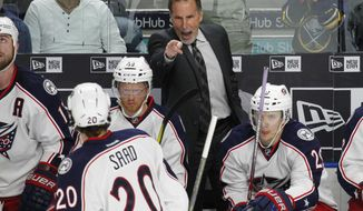 FILE - In this Saturday, March 11, 2017, file photo, Columbus Blue Jackets head coach John Tortorella shows emotion during the third period of an NHL hockey game against the Buffalo Sabres in Buffalo, N.Y. NHL teams with long winning streaks have struggled in the aftermath of them this season. While the Minnesota Wild bucked the trend, the Blue Jackets steadied themselves after some struggles and the Washington Capitals are working on getting back on track. (AP Photo/Jeffrey T. Barnes, File)