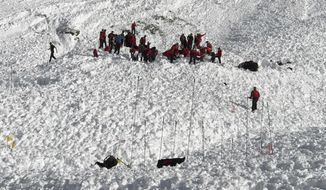 Mountain rescue personnel try to locate a man still missing as they work at the Jochgrubenkopf mountain, southeast of Innsbruck, Austria, Wednesday, March 15, 2017 after an avalanche killed at least three mountain climbers. (Daniel Liebl/zeitungsfoto.at via AP)